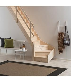 Деревянная лестница DOLLE Normandie с подступенями забежная