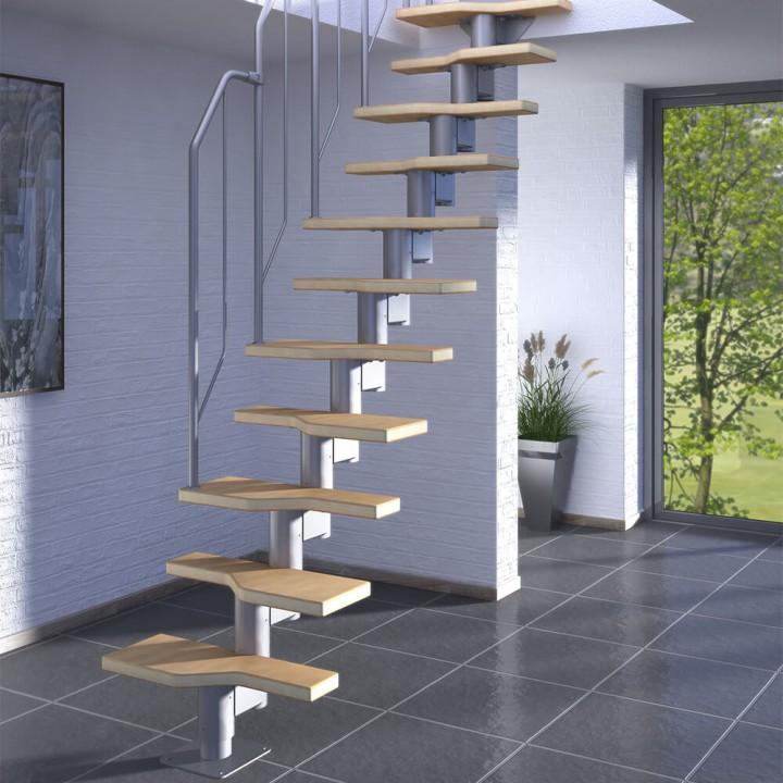 Модульная лестница DOLLE Athena Серебро бук мультиплекс 299 см